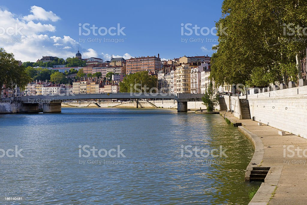 Lyon and Saone river royalty-free stock photo