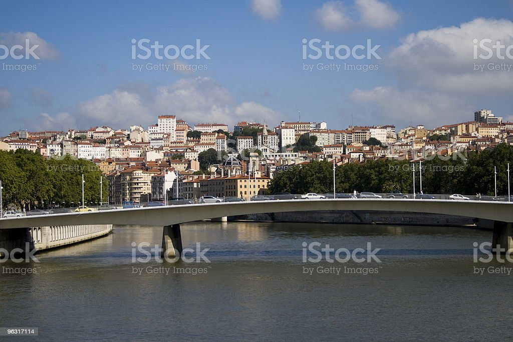 Lyon and the Saone river royalty-free stock photo