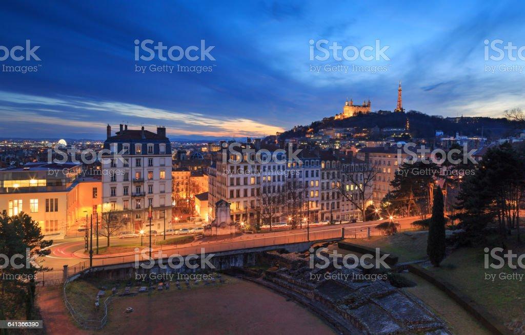 Lyon at dusk stock photo