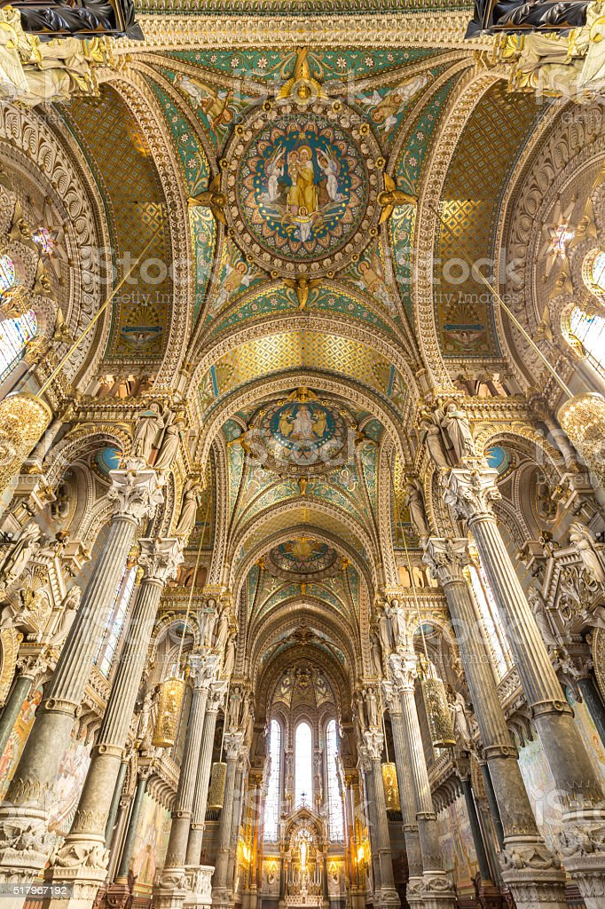 Lyon Basilica of Notre-Dame de Fourviere France stock photo