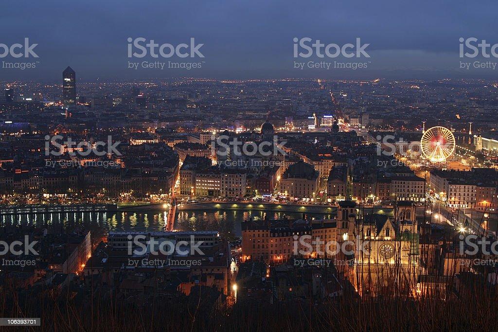 Lyon by night royalty-free stock photo