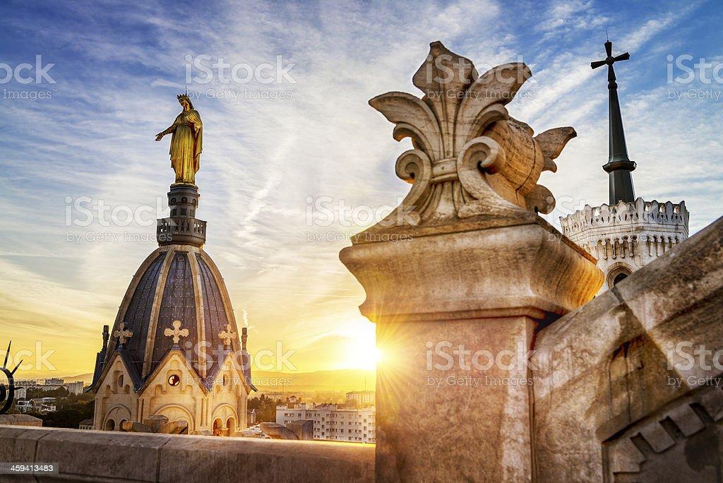 Lyon by sunset stock photo