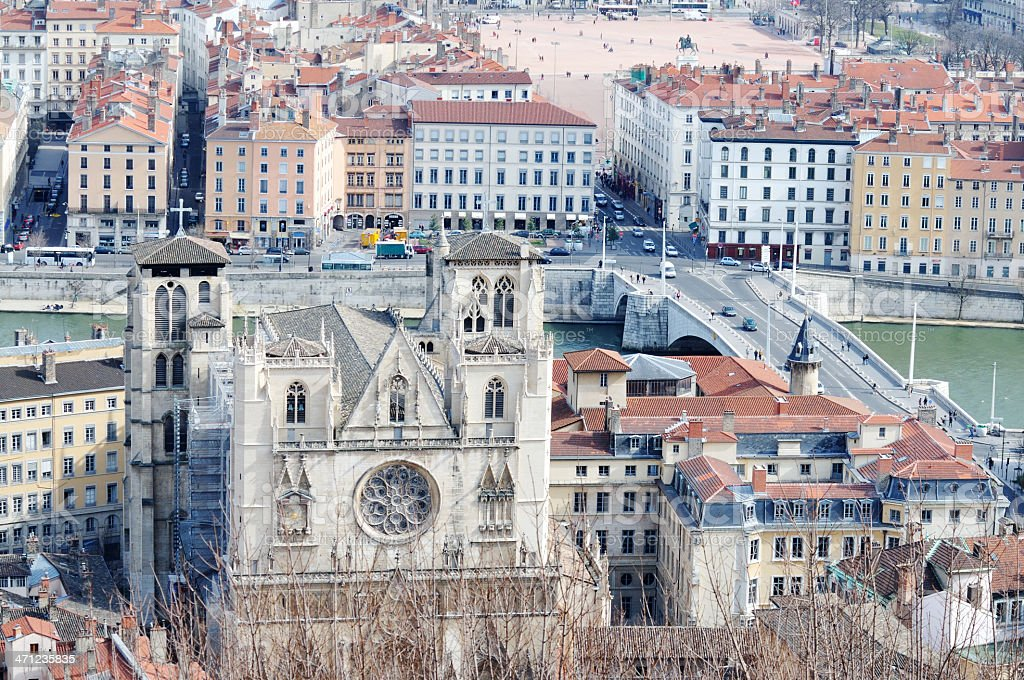 Lyon Cathedral and old city stock photo