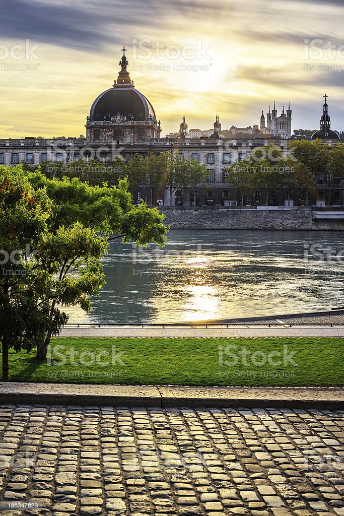Lyon city at sunset with Rhone river stock photo