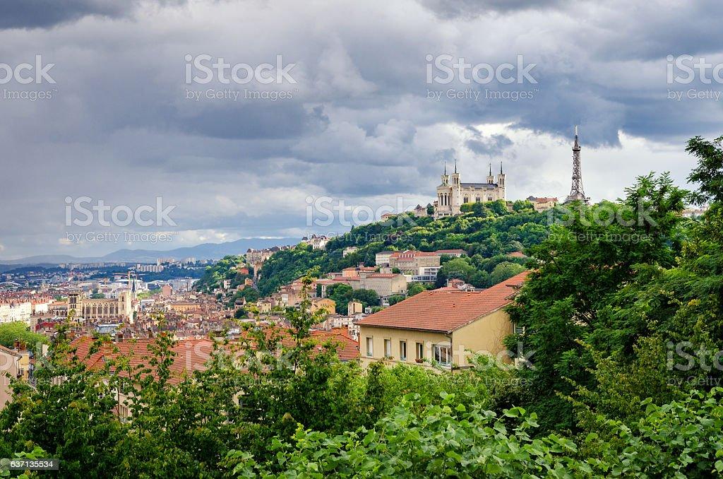Lyon (France) Notre-Dame de Fourviere and metallic tower stock photo
