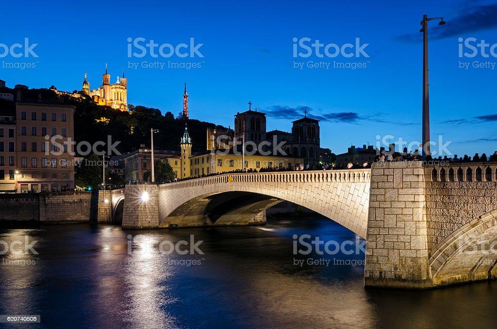 Lyon (France) Notre-Dame de Fourviere and pont bonaparte stock photo