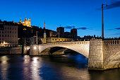 Lyon (France) Notre-Dame de Fourviere and pont bonaparte