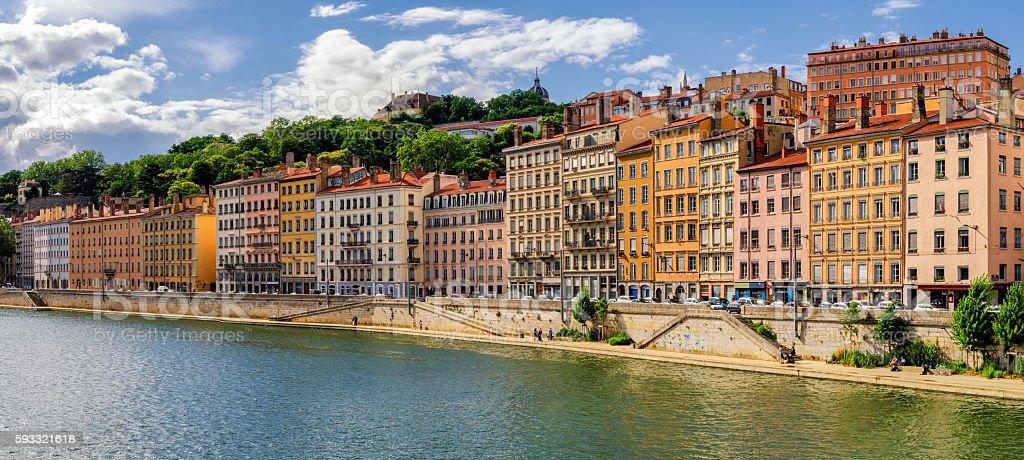 Lyon (France) old buildings near river Saone stock photo