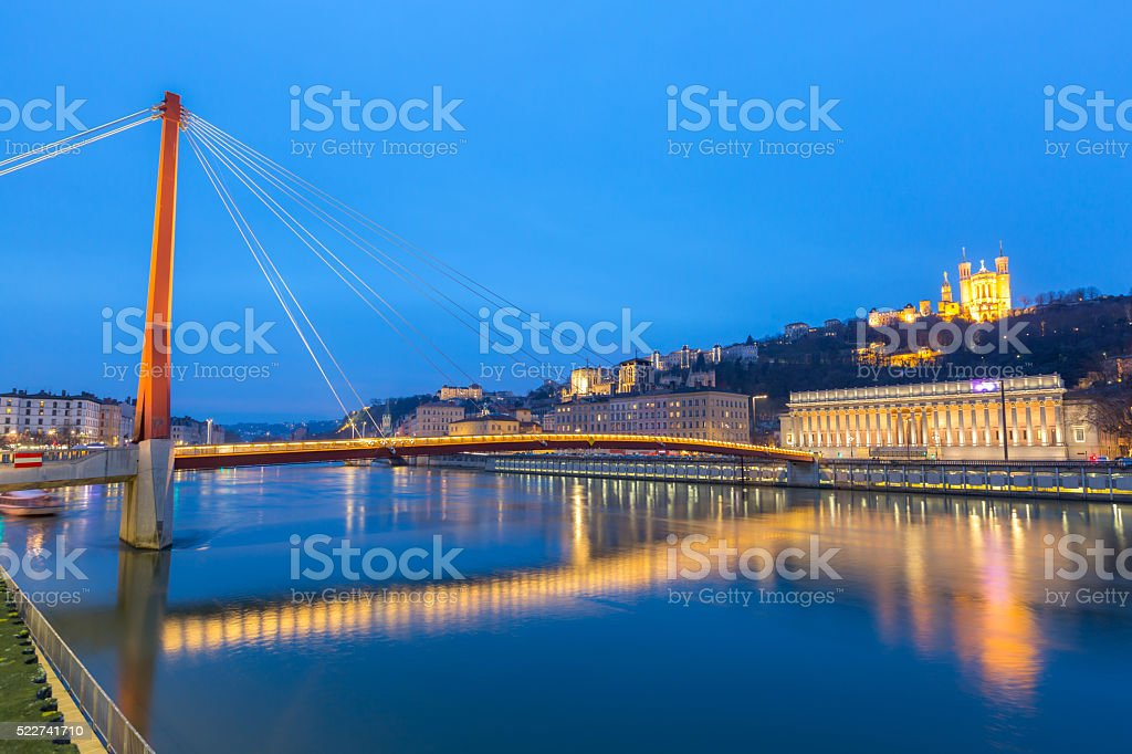 Lyon Saone river Fourviere Notre-Dame stock photo