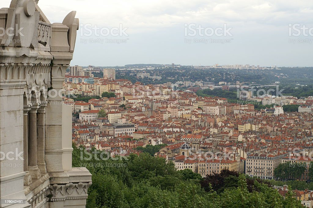 Lyon view from Fourviere to La Croix-Rousse stock photo