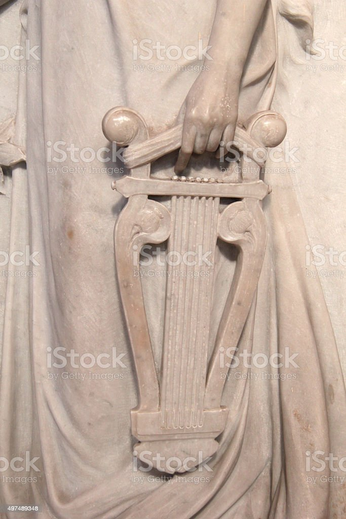 Lyre in an sculptured of a Palermo chruch stock photo