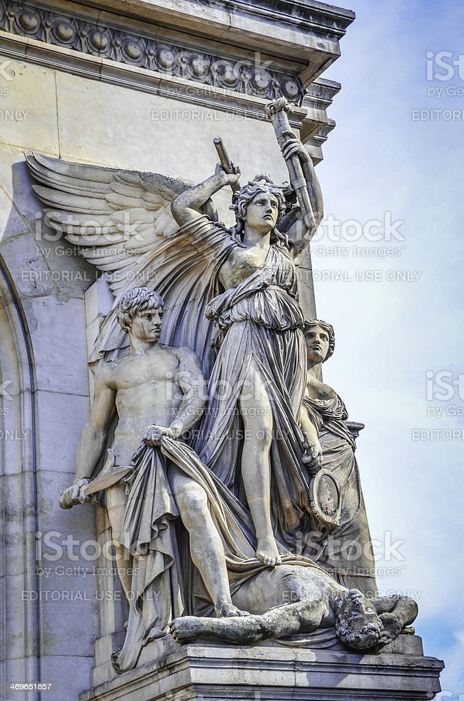 Lyrical Drama fa?ade sculpture of Palais Garnier in Paris stock photo