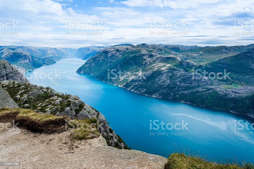 Lysefjorden from the top of the pulpit rock stock photo