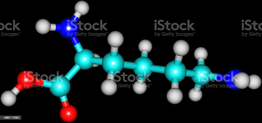 Lysine acid molecule isolated on black stock photo