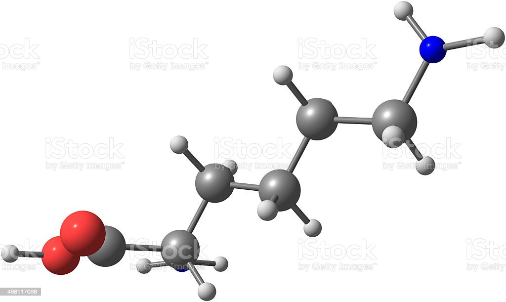 Lysine acid molecule isolated on white stock photo