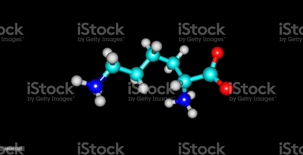 Lysine molecular structure isolated on black stock photo