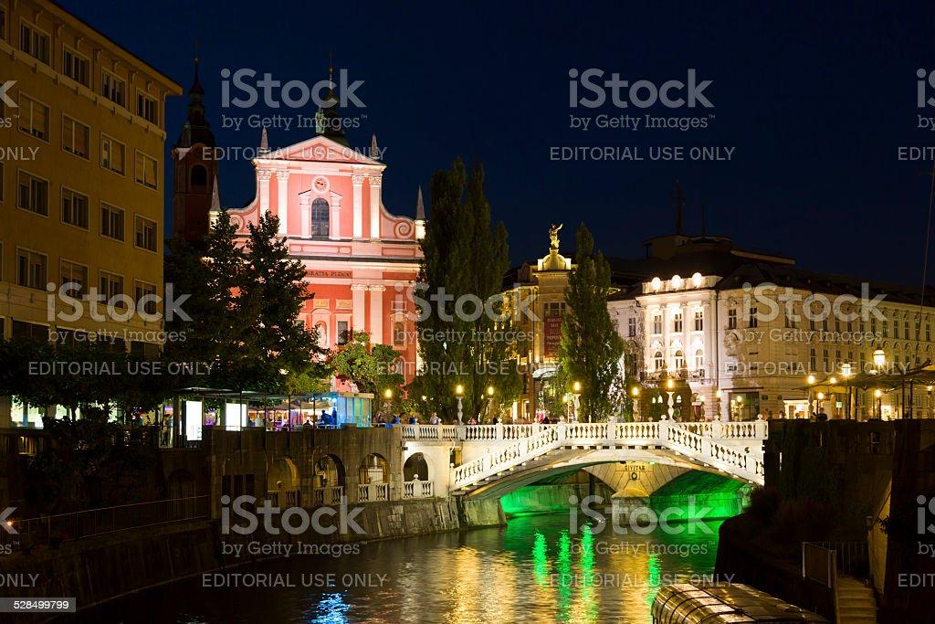 Lyubblyana night, Slovenia stock photo