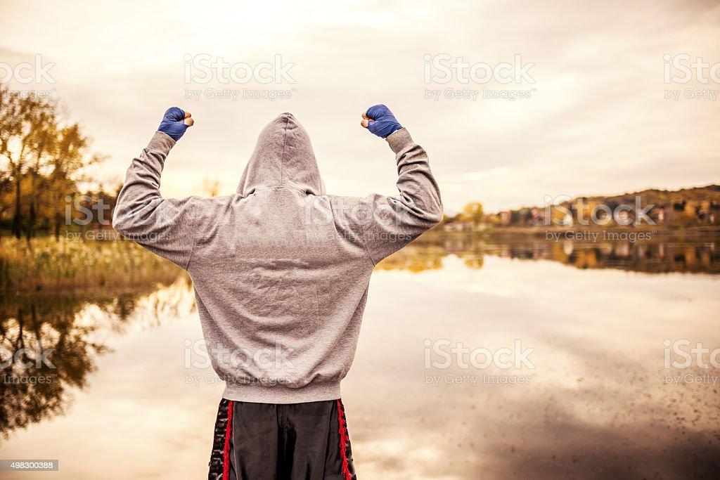 I'm a boxing champion stock photo
