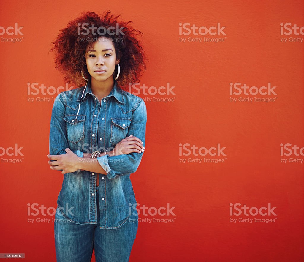 I'm a denim kinda girl stock photo