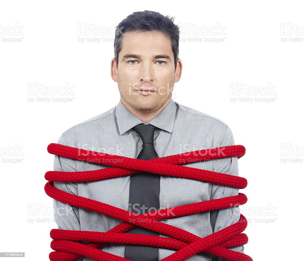 I'm all tied up at the moment... royalty-free stock photo