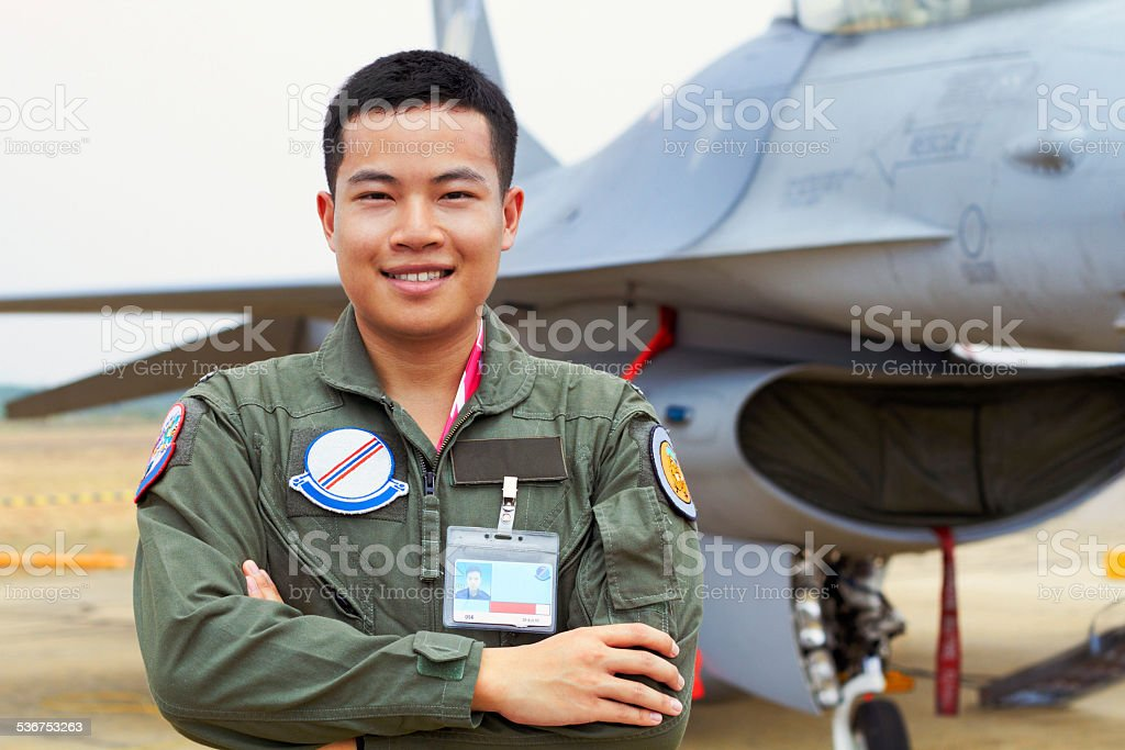 I'm an fighter ace! stock photo