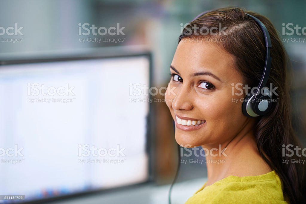 I'm connected and listening stock photo