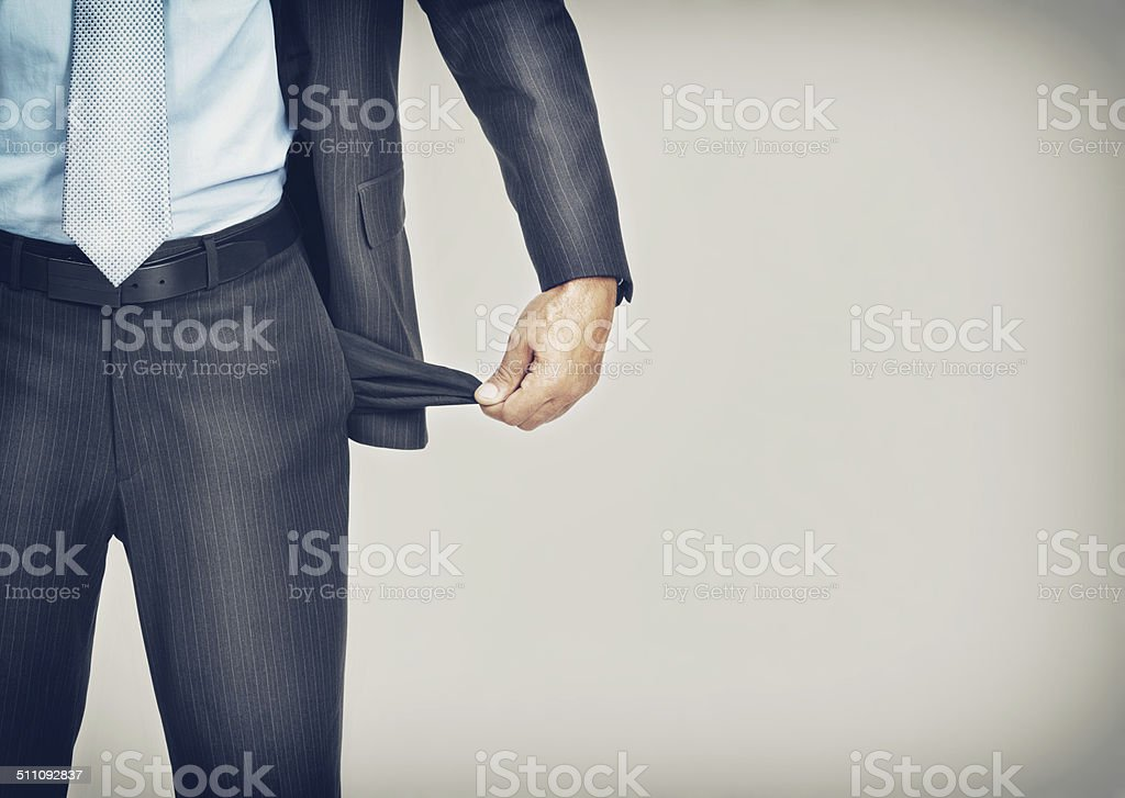 I'm drained financially stock photo