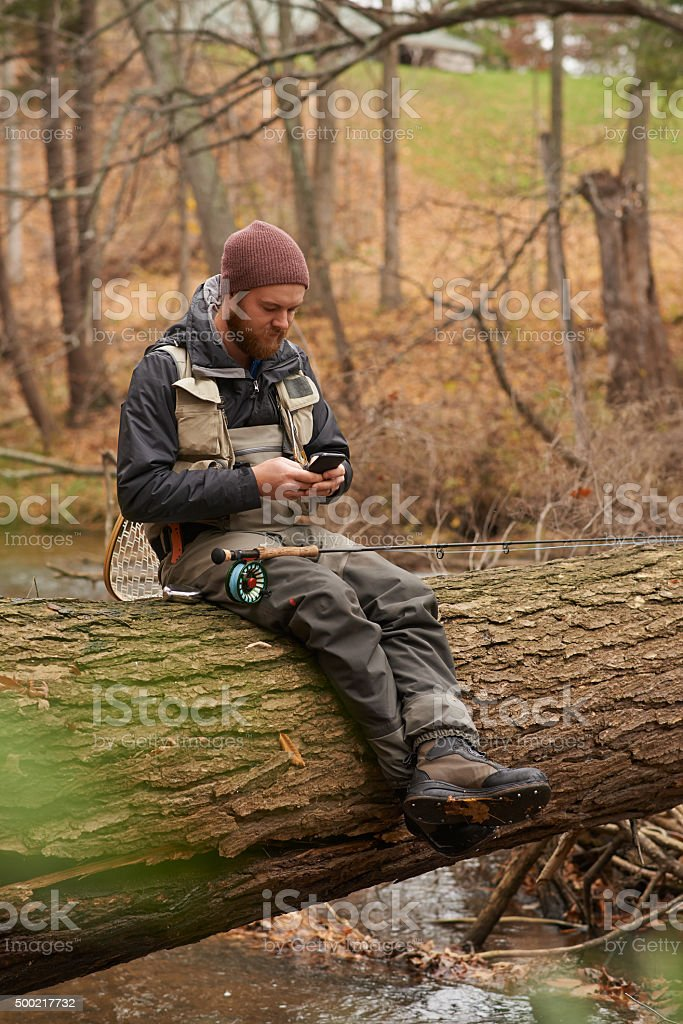 I'm fishing at my usual spot, care to join me? stock photo