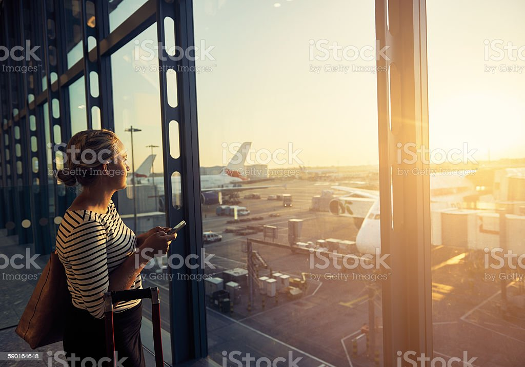 I'm flying in 20 minutes stock photo