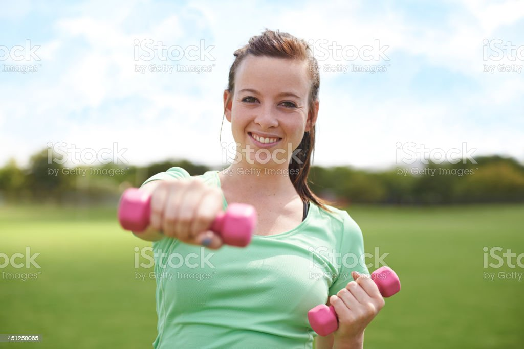 I'm getting toned no matter what! stock photo