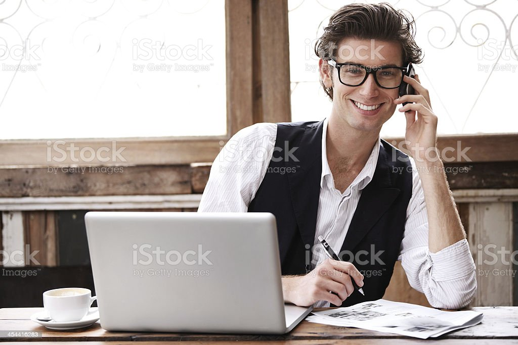 I'm glad I got this phonecall royalty-free stock photo