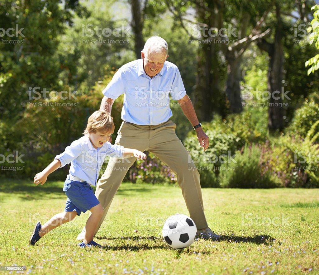 I'm going for goal grandpa! stock photo