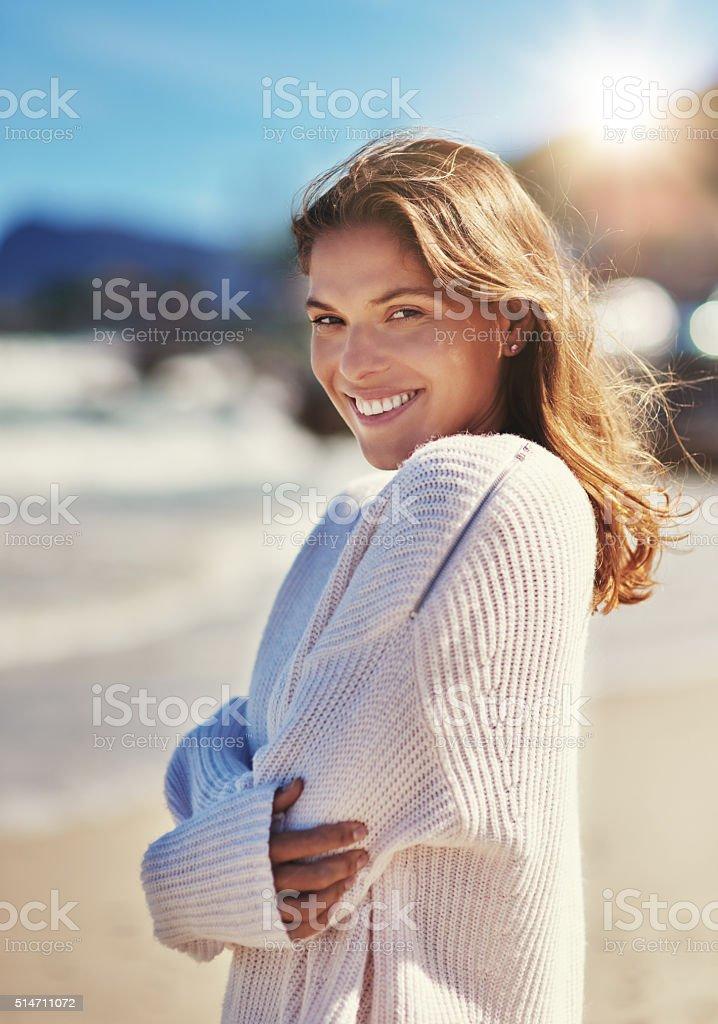 I'm happy anywhere I can see the beach stock photo