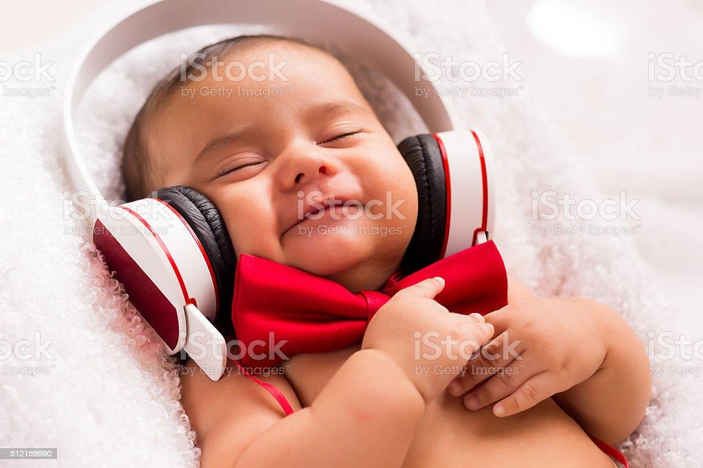 I'm happy, listen music stock photo
