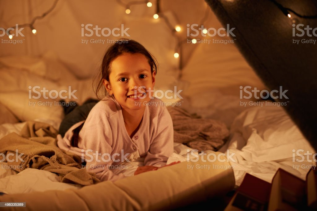 I'm having my own sleepover! stock photo