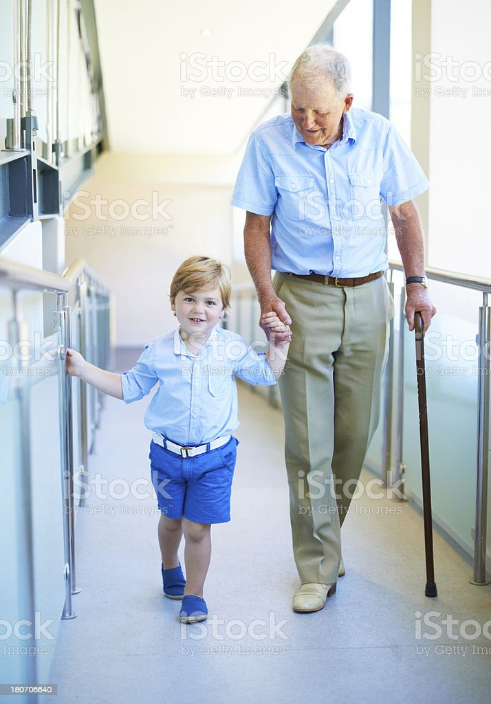 I'm helping my grandad royalty-free stock photo