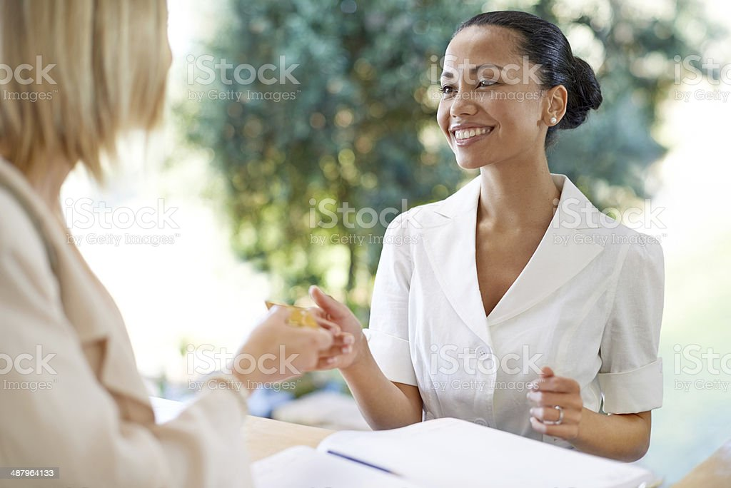 I'm here to check-in... stock photo