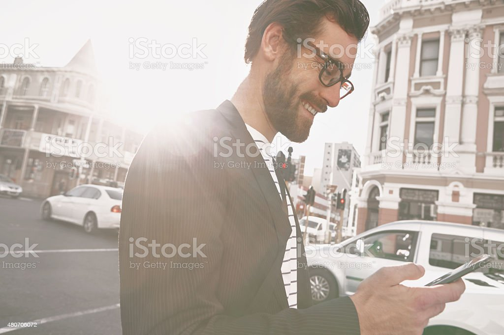 I'm in the city, wanna meet? stock photo