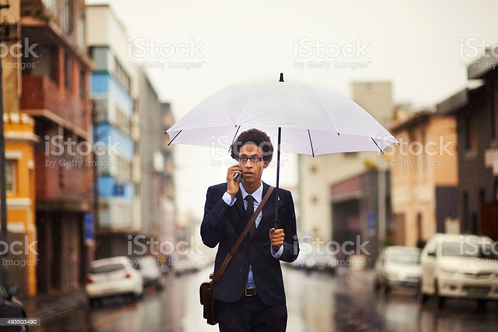 I'm on my way to the office right now stock photo