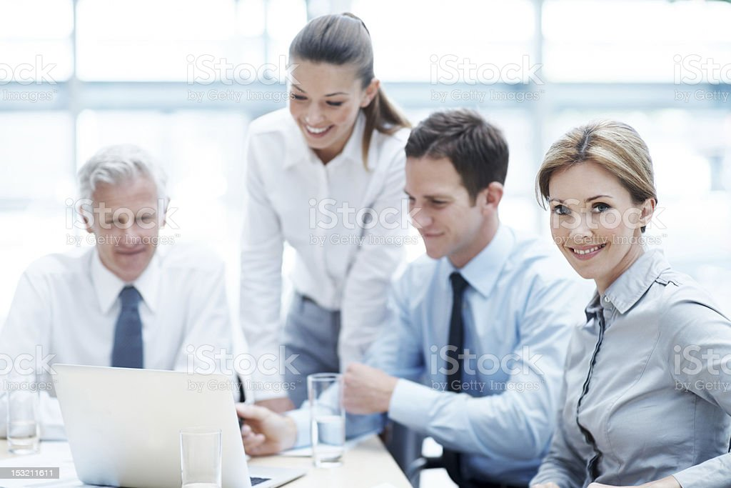 I'm proud to work with this team royalty-free stock photo