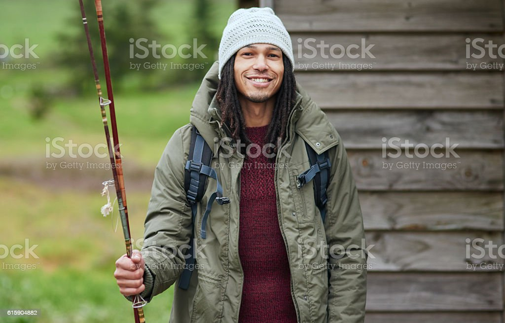 I'm ready to catch my own dinner stock photo