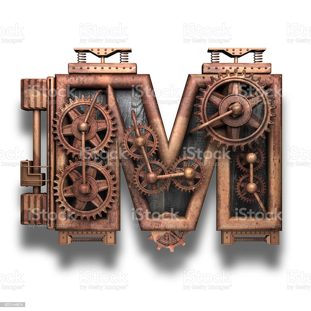 m rusted letter with gears on white stock photo