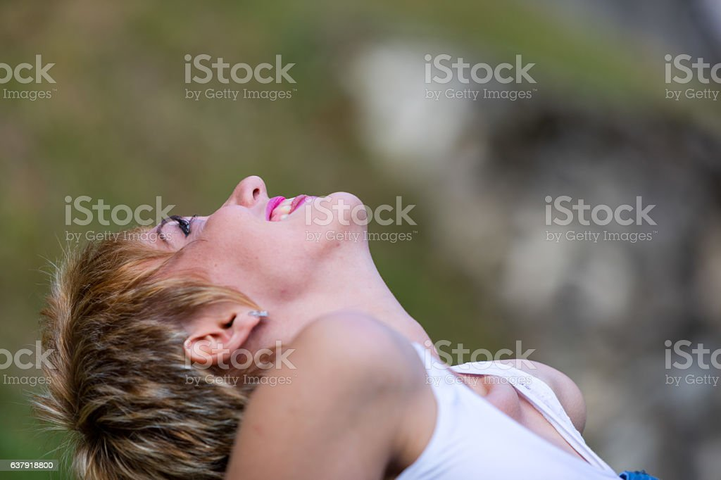 I'm so happy cause today I'm on my way stock photo