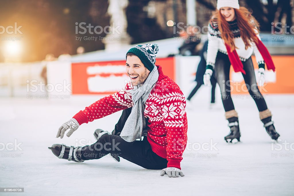 I'm still learning how to skating on ice stock photo
