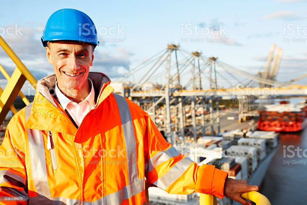 I'm the foreman on this dock stock photo