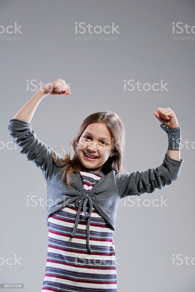 I'm the strongest girl in the world stock photo