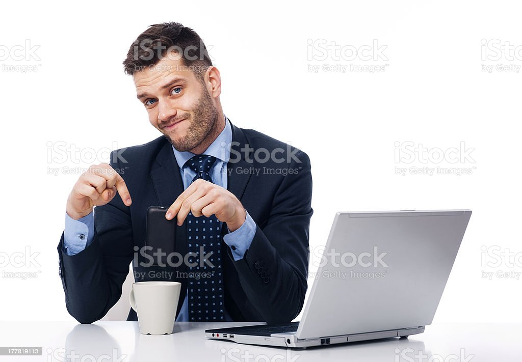 I'm tired of constant phone royalty-free stock photo