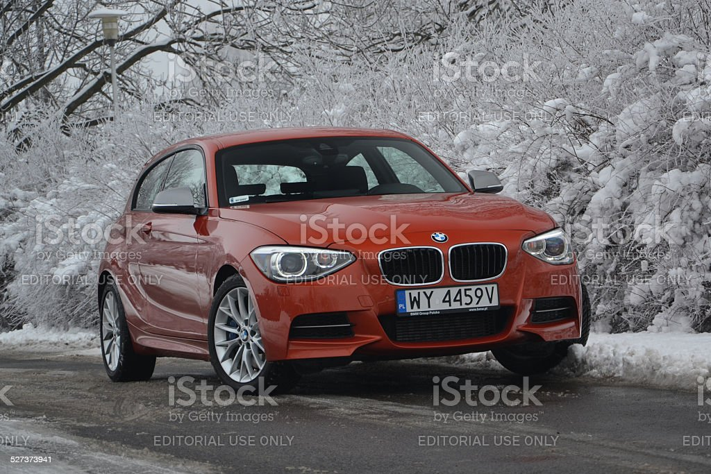 BMW M135i in winter scenery stock photo