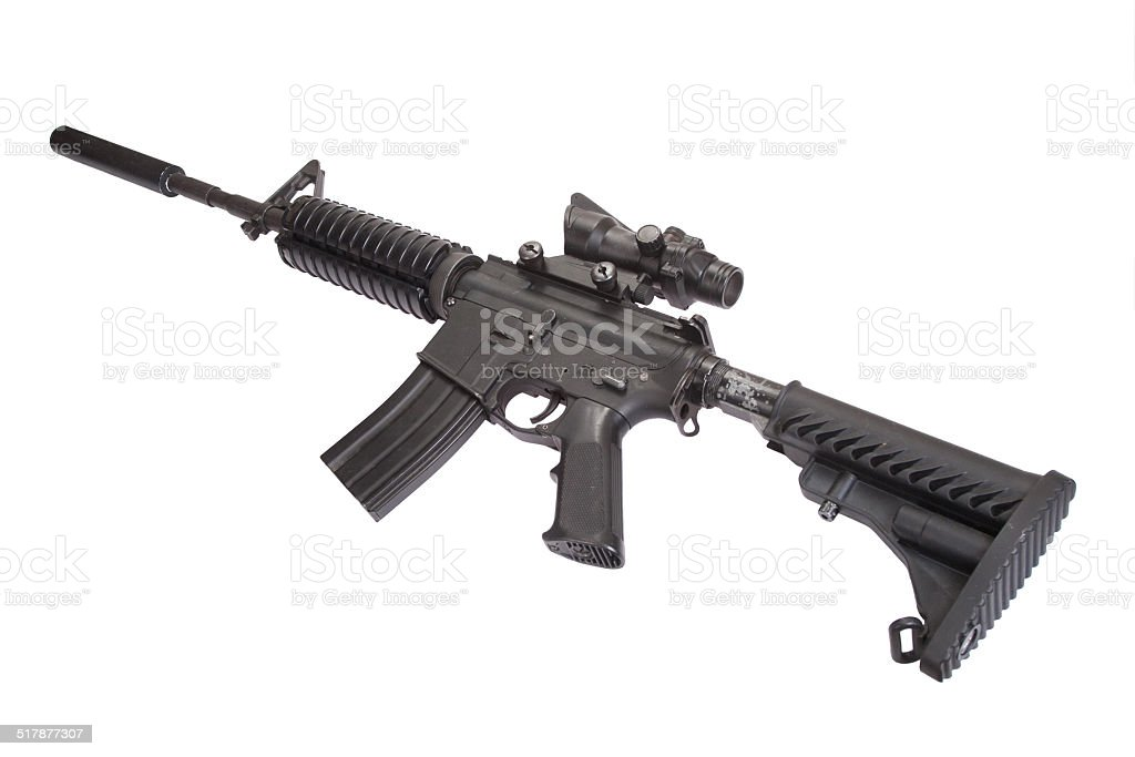 m4 carbine with silencer isolated on a white background stock photo