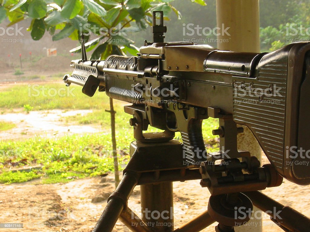 m60 machine gun firing range vietnam stock photo